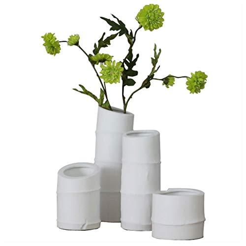 RKL Jarrones De Arte Sencillez Jarrón de bambú Blanco Flor de cerámica de cerámica, arreglo de Flores para Flores secas para Soporte de Vela Multifuncional. Contenedor De Decoración Floral