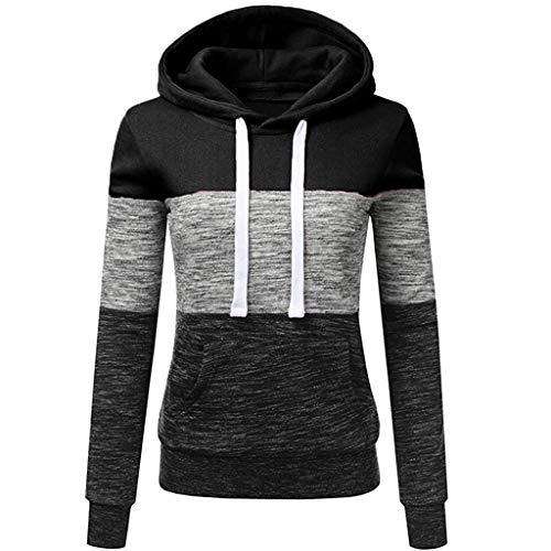 Sunggoko Sudadera con capucha para mujer, gruesa, otoño, invierno, con capucha, estrecha, para el tiempo libre, manga larga, de algodón, color de contraste, chaqueta de invierno 66