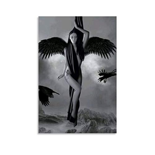 Póster de ángel caído gótico oscuro y cuadro de arte de la pared, diseño moderno de la familia dormitorio decoración carteles 40 x 60 cm