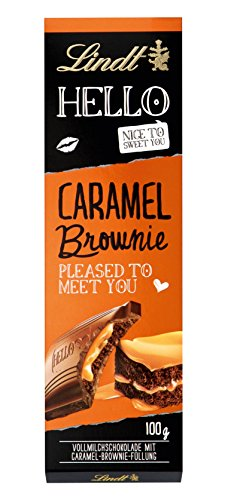 Lindt & Sprüngli Hello, Caramel Brownie Tafel, 4er Pack (4 x 100 g)
