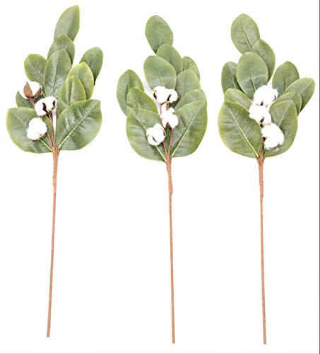 "Silvercloud Trading Co. 30"" Magnolia Leaf & Cotton Stems - Large - Farmhouse Style Cotton Magnolia Stems Floral Display Filler (3 Stems)"