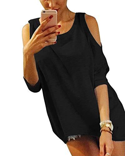 YOINS - Camiseta sexy para mujer, cuello redondo, media manga de verano...