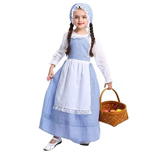 Jerma Frauen's Mädchen's Oktoberfest Kostüm,Fräulein Deutsch Bayerische Dirndl Kleid,Bier Mädchen Kleid Apron Hat,Kind Kostüm,Hexe Kostüm,Halloween Kostüm,Dienstmagd Outfi B