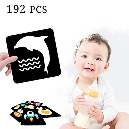 Tarjeta de Aprendizaje Infantil, 192 Piezas de Tarjetas de Educación Temprana de Colores para Recién Nacidos, Tarjeta de Desarrollo Temprano de Alto Contraste Juguetes para Niños Pequeños
