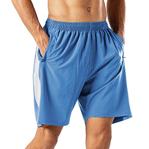 Pantalones Cortos Deportivos para Hombre Transpirable Secado Rapido para Running Fitness Gym(Lago Azul XL)