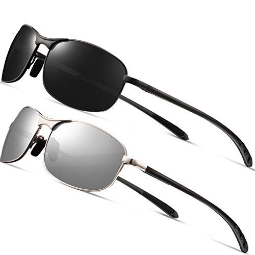 Rectangular Sport Polarized Sunglasses for Men Feirdio Mens Sunglasses Sports Metal Frame 100/% UV protection 2268