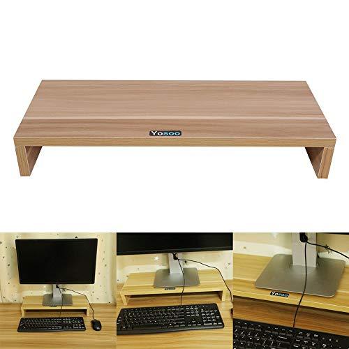 YANGSANJIN - Supporto per monitor per monitor e computer desktop, con supporto per espositore, supporto, organizzatore in legno per PC LED LCD, Wood colour