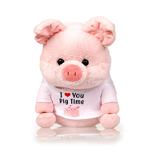 InFLOATables Pig Plush Stuffed Animal - 12 Inches Pink Stuffed Piggy - Cute Plush Pig with I Love You Pig Time Shirt - Stuff Piggy with Customizable Birth Certificate - Cuddly Valentines Day Gift