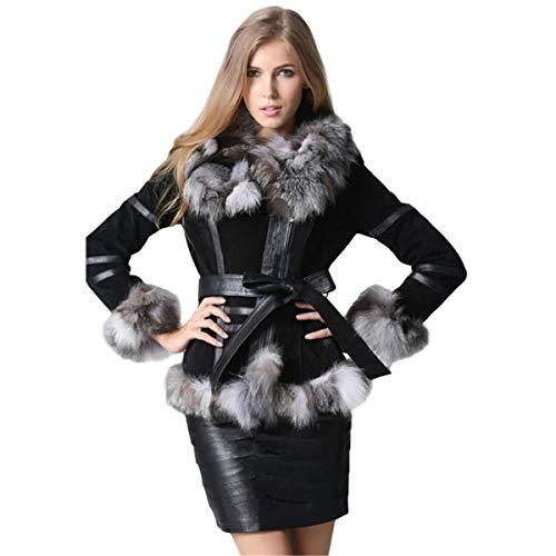 KAISHIN Abrigos de Piel auténtica de Invierno con Cintura Chaqueta de Cuero Genuino para Mujer con Cuello de Piel de Zorro Plateado y Adornos de puños