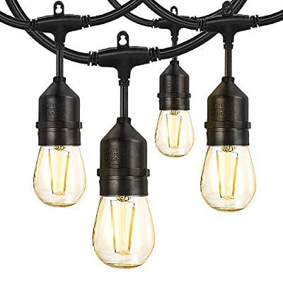 AVANLO 2 Pack 48ft LED Outdoor String Lights Hanging Edison Plastic Bulbs Commercial Grade Dimmable Patio Café Light,UL Listed Weatherproof Strand 15 Hanging Sockets for Market Bistro Garden Backyard