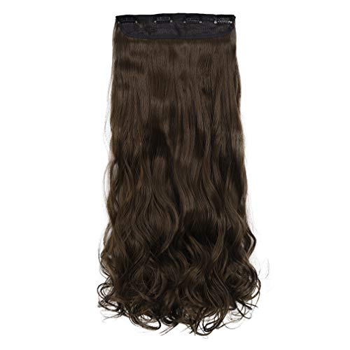 REECHO 24' Curly Wavy 4 Pieces Clip in on Hair Extensions Medium Ash Brown