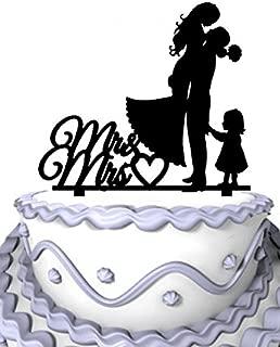 Meijiafei Bride and Groom with Little Girl Mrs & Mr Heart Cake Topper Silhouette