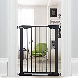 WAOWAO Narrow Baby Gate Easy Walk Thru Pressure/Hardware Mount Auto Close Black Metal Child Dog Pet Safety Gates 29.13in Tall for Top of Stairs,Doorways,Kitchen and Living Room 2 (Black-25.59″-28.35″)