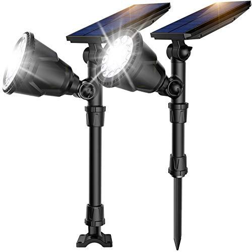 ROSHWEY Solar Spot Lights Outdoor, 18 LED Solar Flood Lights Waterproof Solar Landscape Lights Landscape Spotlights for Yard Patio Porch Deck Garage (Cool White, 2 Pack)