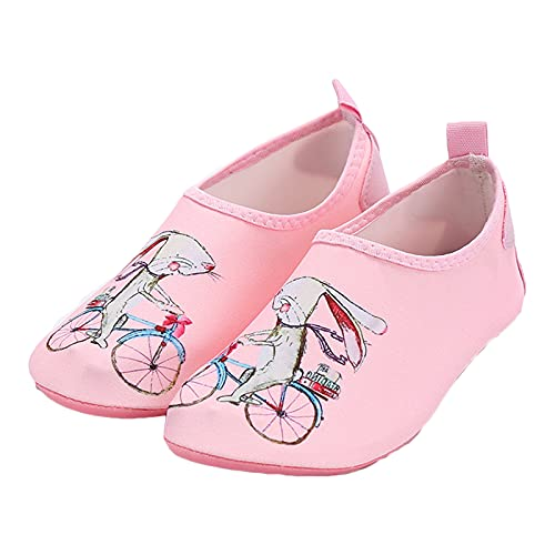 Zapatos de agua para niños y niñas, de secado rápido, antideslizantes, para niños, playa, natación, piscina, surf, yoga, deportes junto al mar, (Rosa (pink rabbit)), Medium