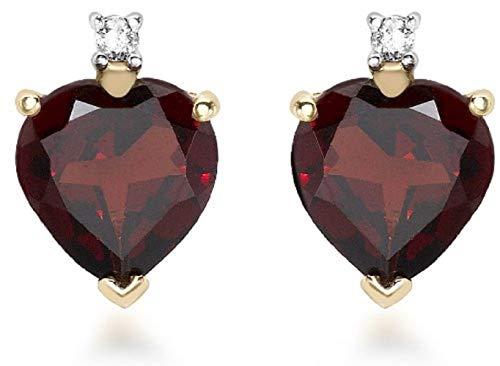 Carissima Gold Women's 9 ct Yellow Gold 0.03 ct Diamond and Garnet Heart Stud Earrings