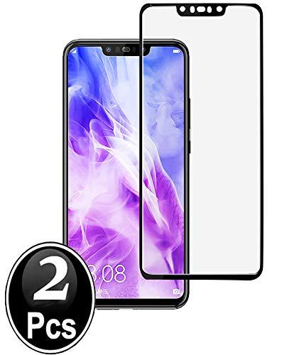 Huawei Nova 3 Panzerglas Schutzfolie,[2 Stück] [Full Coverage] [Full Adhesive Glue] [Selbstabsorption] Blasenfrei gehärtetes Glas Schutzfolie mit lebenslanger Ersatzgarantie (Schwarz)