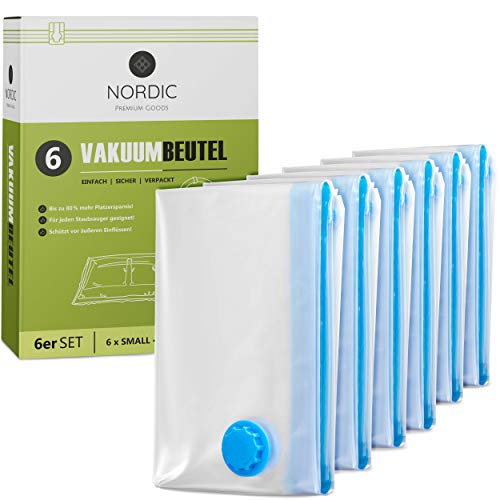 NORDIC® - Vakuumbeutel 6x Größe S (60x40cm) - BPA Frei INKL. ETIKETTEN - Vakuumbeutel für Kleidung - Vacuum Bags - Aufbewahrung Vakuum - Vakuumierbeutel Kleidung - Vakuumbeutel Staubsauger
