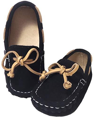 [しあわせ倉庫] モカシンシューズ キッズ 子供靴 結婚式 スエード スリップオン ローファー 子供 男の子 ボーイ (15.5, ブラック)