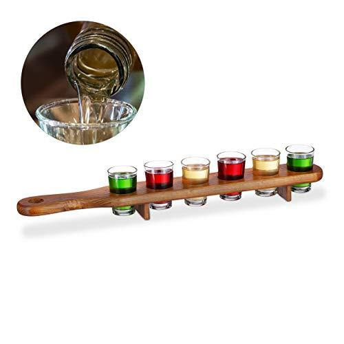 Relaxdays Schnapsbrett Holz, 6 Schnapsgläser, 4 cl, praktische Schnapslatte, halber Meter, tolle Geschenkidee, Shotbrett, braun, 1 Stück