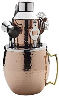 Mikasa 5215371 Oversized Hammered Moscow Mule Copper-Plated Stainless Steel Bar Set, 6-Piece