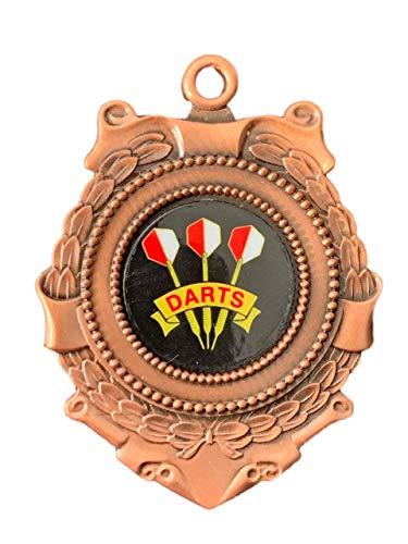 Emblems-Gifts Triumph Bronze-Medaille und Band, 65 mm, 3 Dartpfeile, personalisierbar