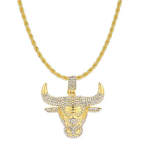 HH Bling Empire Mens Iced Out Hip Hop Silver Gold Artificial Diamond NBA Basketball Related Pendant cz Tennis Chain Necklace 22 Inch (Bull -Gold, with Rope)