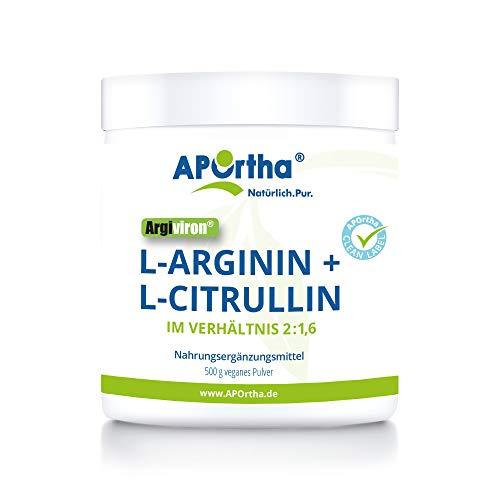APOrtha L-Arginin & L-Citrullin veganes Pulver I Verhältnis L-Arginin zu L-Citrullin 2 : 1,6 I Nahrungsergänzungsmittel rein pflanzlich ohne Zusätze I Premium Qualität I 500 g Pulver
