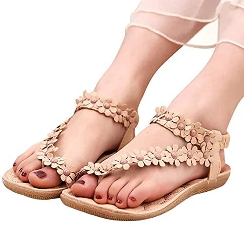 Sandalia Mujer Planas Verano, Estilo Rhinestone Flor Tobillo Correa Elástica Casuales Playa Elegantes Chanclas Damas Zapatos, Correctoras Chanclas,B,43