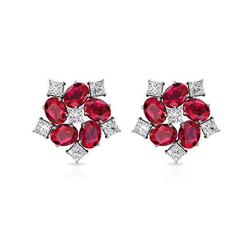 Pendientes de diamante certificado IGI de 2,7 quilates, Art Deco HI-SI princesa diamante floral Stud, piedra de nacimiento de julio, flor nupcial, tornillo hacia atrás