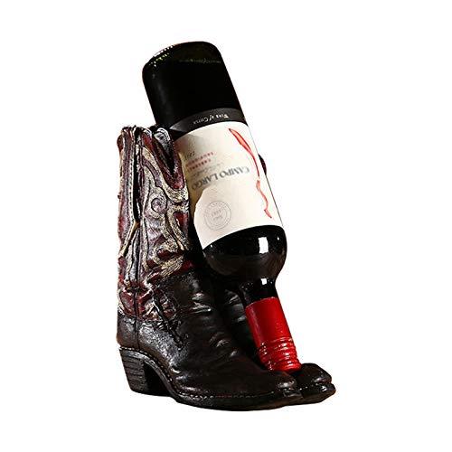 KUKU Estante De Vino De Escritorio Creativo, Estante De Vino De Resina con Botas De Vaquero Americano, Estante De Exhibición De Botella De Vino De Lujo, Amantes del Vino