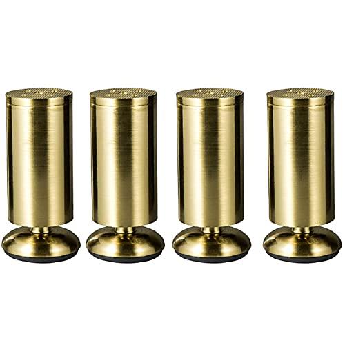 NMDD Patas de Muebles Ajustables de 4 Piezas, Patas de Gabinete de Aleación de Zinc, Patas de Repuesto de Metal Utilizadas para Camas de Bricolaje Mesas de Centro Bancos Altura Ajustable