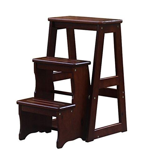 BOBE SHOP- Escaliers en bois massif de trois étages intérieure créative portable Escalier l'échelle de cuisine adulte échelle (Couleur : Deep walnut color, taille : 64 cm)