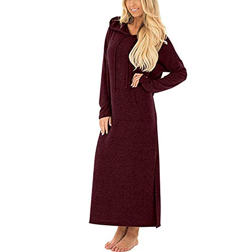 ❤ Vestido para Mujer, RETUROM 2019 Vestido Casual para Mujer con Bolsillos de Manga Larga con Capucha Dividida sólido Vestido Largo Largo