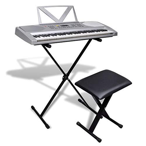 vidaXL Elektrisches Keyboard 61 Tasten Klavier Piano + Notenablage Stativ Hocker