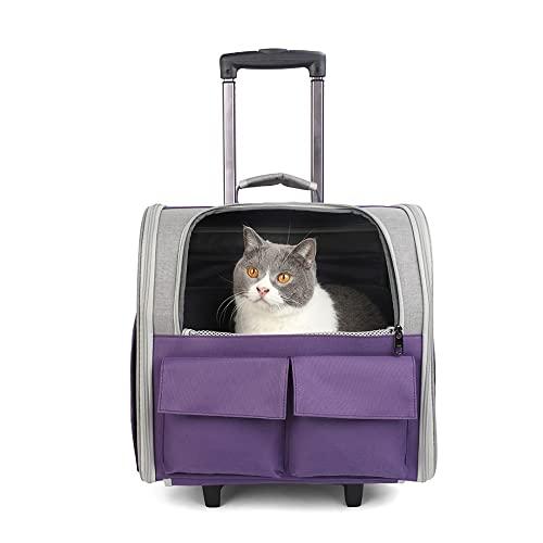 MH-RING Mochila Porta Gatos Transpirable, Porta Cachorros sobre Ruedas, con Ruedas ABS de Amortiguación Silenciosa, Plegable Trolley de Viaje Fat Cat (Color : Purple)