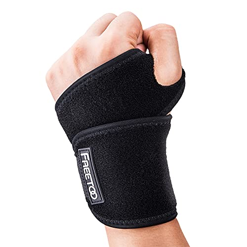 FREETOO Air Mesh Wrist Brace for Carpal Tunnel support for pain relief, Compression Wrist support strap at work for women men,Adjustable wrist guard fit right left hand for Arthritis Tendonitis