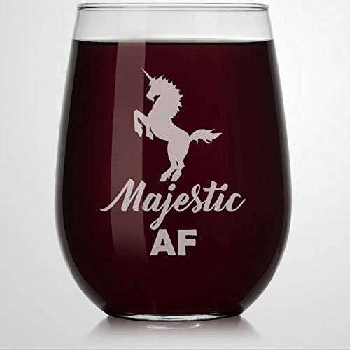 Majestic AF - Verre à vin sans pied en cristal avec motif licorne - Verre à whisky gravé - Parfait pour père, maman, garçon ou petite amie