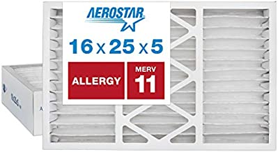 Aerostar Allergen & Pet Dander 16x25x5 MERV 11 Honeywell Replacement Pleated Air Filter, Made in the USA, 2-Pack, White