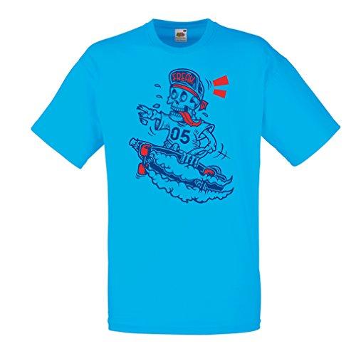Mannen T-shirt de schedel skater, skateboarder, street urban clothing, idee