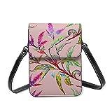 Petit sac pour téléphone portable pour femme - Motif floral tropical - Avec sangle réglable, 73 branches lumineuses, Taille unique