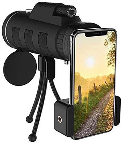 HaoLi Telescopio para teléfono móvil, monocular 40X60, Alta definición, Poca luz, Visible, Impermeable, con Adaptador para teléfono Inteligente y trípode, Apto para Exteriores, Camping