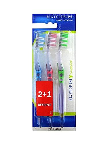 Elgydium Inter-Active - Cepillo de dientes flexible (2 cepillos de dientes + 1 unidad)