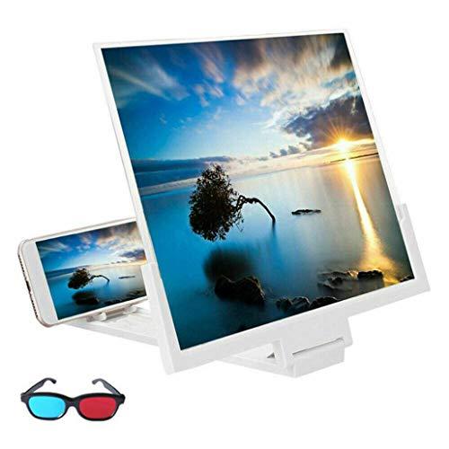LQQZZZ Handy-Bildschirmlupe, 14-Zoll-Handy-Bildschirmlupe Mit 3D-Brille Blu-Ray HD-Bildschirm Reduzieren Augenermüdung Geeignet,Weiß