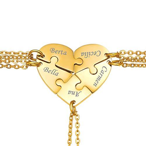 Juego de Colgantes Acero Inoxidable Cinco Pedazos Oro Amarillo 18K Corazones Rompecabezas Amor Amistad Infinito para Siempre Joyas Modernas