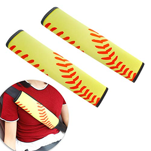 color mogu 2 Pack Car Seat Belt Pads Covers Seatbelt Shoulder Strap Covers for Adult, Yellow Softball