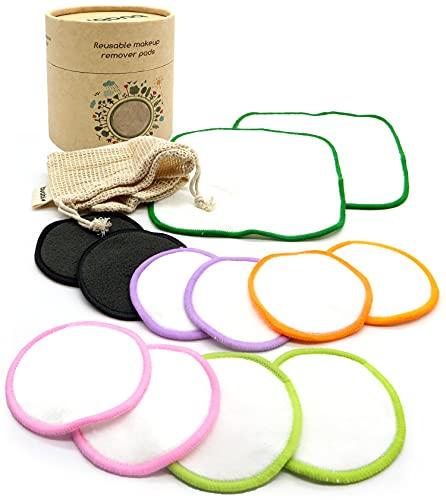 Discos desmaquillantes reutilizables ecologicos. Grandes suaves y lavables. 10 Almohadillas de Bambú + 2 Toallitas grandes + Bolsa de lavado