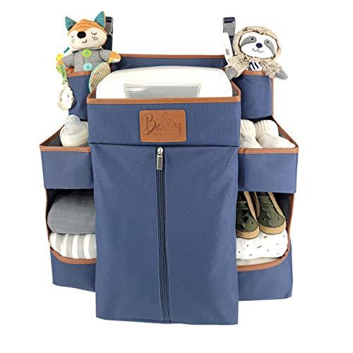 Llama Bella Premium Nursery Organizer and Baby Diaper Caddy | Hanging Diaper Organizer for Baby Essentials | Diaper Organizer for Crib, Changing Table or Playard | Baby Crib Storage Organizer (Navy)