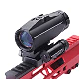 Funpoweroptics Tactical 3X Red Dot Magnifier Hunting Rifle Scope Magnifier Sight with Flip to Side Base Mount for Picatinny Rail