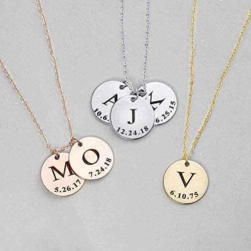 Mothers Day Gift Delicate Initial Disc Necklace Coin Graduation Gift for Her 2021 Amazon Handmade Gift Personalized Initial Jewelry for Women Bridesmaid Gift - LCN-ID-L